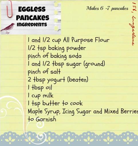 how to make eggless pancakes without baking powder
